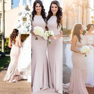 New Blush Pink Cheap African Simple Mermaid Long Bridesmaid Dresses Custom Made Stretchy Plus Size Wedding Guest Gowns Maid Of Honor Dresses