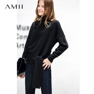 AMII Minimaliste TruTlencek Pull automne Femmes Solide Bandage en vrac Femme Pull Tops Tops 118703131