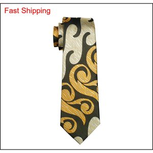 Abstract Yellow Mens Tie Pocket Square Cufflinks Set 8.5cm Width Meeting Business Casual Party Necktie Ja qylmso bdefashion