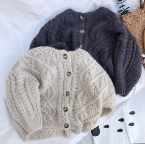 INS New Kids twist knitting sweater fall children round collar single-breasted cardigan boys girls knitting outwear A4852
