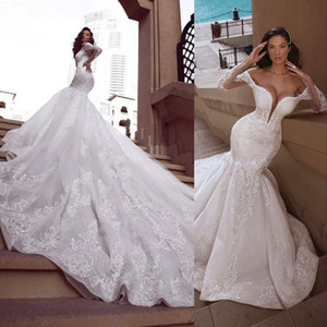 2021 New Mermaid Lace Wedding Dresses Sheer Plunging Neck Long Sleeves Crystal Beaded Bridal Gowns Plus Size Sequined Trumpet Bridal Gowns