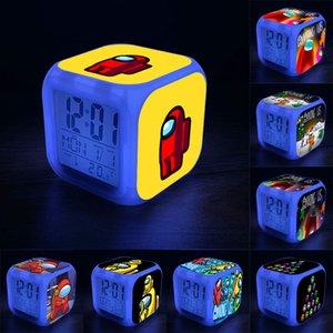 온도 표시 키즈 학생 창조적 인 선물과 야간 조명 교체 7 색으로 우리 완구 키즈 주도 디지털 알람 시계 중