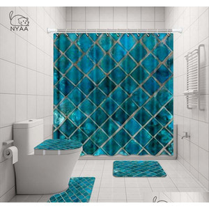 Nyaa 4 Pcs Mosaic Decoration Shower Curtain Pedestal Rug Lid Toilet Cover Mat Bath Mat Set For Bat qylpBp hotclipper