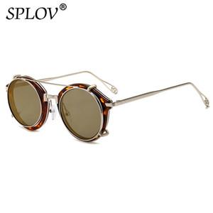 Güneş gözlüğü Erkekler Kadınlar Çift Katmanlı Çıkarılabilir Mercek Ayrılabilir Shades Şeffaf Lens Hollow Bacaklar Camların Üstünde Retro Steampunk Yuvarlak Klip