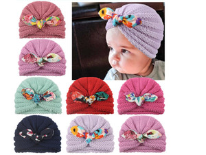 New multi color baby knitting wool hat fashion children's Pullover hat multi color ear textile hat Woven hats