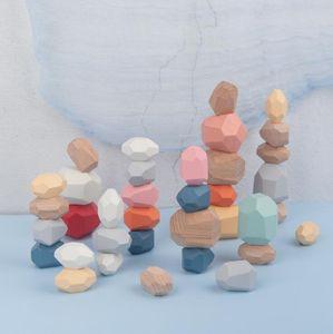 Bois arc-en-blocs de construction de jouets nordique style coloré Pierre Bois Pierre Jenga Jouets éducatifs pour enfants Ornements Artisanat Cadeaux YL720
