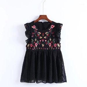 YSMILE Y Kadınlar Tatlı Kolsuz Ruffles Çiçek Nakış Bluz Moda Kadınlar Yaz O Kolye Avrupa Tops Blusas1