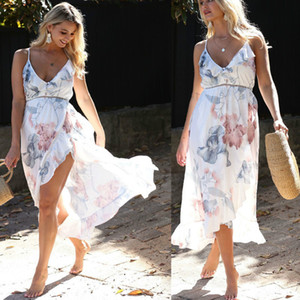bunvel лето Беременность Сыпучие рукавов для беременных платье Цветочные Печатные BOHO Сарафаны Mama одежда 2020