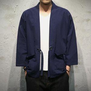 2020 TANG Store Mens Jacket Coat Summer Kimono Cardigan Coat Japan Vintage Windbreaker with Belt Male Jackets Clothes