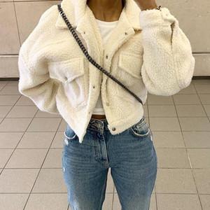 Fashion Lamb Wolle Herbst-Winter-Mantel-Frauen-Jacke Fleece Shaggy Warm Kurzjacken Overcoat Einreiher Outwear