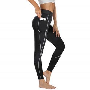 Women Fitness Tights Neoprene Heat Pants Sweat Sauna Waist Trainer Control Panties Sexy Butt Lifter Slimming Legging with Pocket