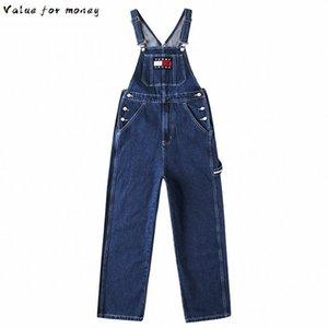 Cep büyük Erkekler kargo mavi kot önlük Casual yama tasarımın jumpsuits Jeans Tulumlar overalls
