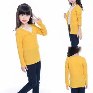 Jackets Autumn Girls Cotton Outerwear Coats Solid Color Cardigan Coat Children's Clothing Kids Children Jacket 1-10Y