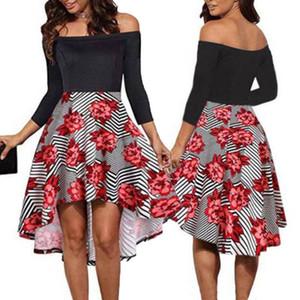 2020 Women Floral Printed Mini Dress Off The Shoulder Hawiian Evening Party Summer Beach Vintage Irregular Sundress S-2XL