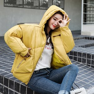 Korean Style Solid Winter Bubble Jacket For Women Parka Hooded Stand Collar Plus Size Loose Thick Outwear Female Cold Coat 201015