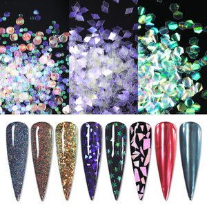 Quality1 Bag Silver Nail Paillettes Glitter Colorful Mix Pattern Translucido Nail Art Decoration Polvere Polvere