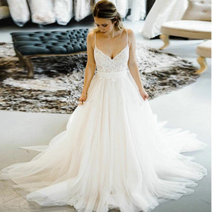Stunning A Line Wedding Dresses Lace Sweetheart Spaghetti Straps Soft Tulle Bridal Gowns Sexy Backless Bow Wedding Dress