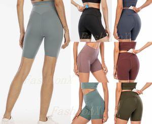 LU Donne leggings Yoga Outfit Coscia Designer Designer Womens Lulu Allenamento Gym Indossare Solido Sport Solido Elastico Fitness Lady Allinea SHR Breve 4 Pantaloni 2021 #