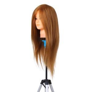Hairdresser Training Practice Head Mannequin Real Hair Cosmetology Doll Head Manikin Head Practice Dummy Blonde W11597