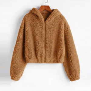 Hoodie Sweatshirt Top Women Solid Winter Warm Jackets Long Sleeve Plush Outwear Female Autumn Ladies Plush Coats Hoody Clothing