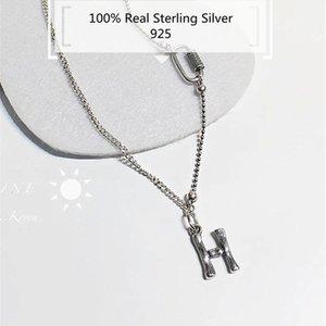 Imves 100% Prata Esterlina Letra h Colar S925 Thai collana lettera argento Ins moda per uomo e donna di lusso partito Maglione