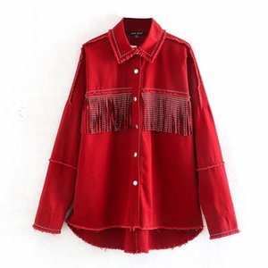 Red Vintage Shiny Rhinestone Fringed Women's Jacket Lapel Long Sleeve Single-breasted Harajuku Chic Loose Female Coat Denim Coat 201016