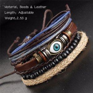 Charms Armbänder ethnische schwarze Punk-Verpackungs-mehrschichtige Leder Braccelet Feder Blicks-Adjustable Charm Armband