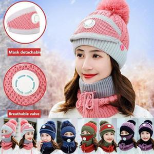 Winter-Frauen Maske Kragen Hat 3 Stück warme Wolle Beanies Hüte mit Maske Kragen Lätzchen weibliche starke Anti-Smog Strickmützen Sea Shipping IIA836
