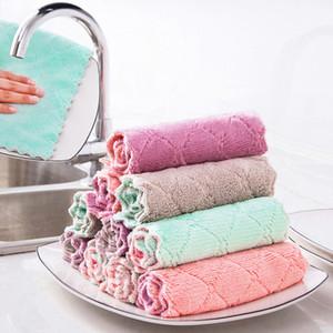 corallo canovaccio velluto spesso panno pulito riutilizzabile Scrub lavare panni della cucina della casa panni per la pulizia della nave asciugamano goccia