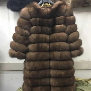 New Natural Coat Winter Women Long Style Genuine Jacket Female Quali-1ty 100% Real Fox Fur Overcoats-jaon 201214