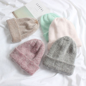 Hot Selling Winter Hat Real Rabbit Fur Winter Hats For Women Fashion Warm Beanie Hats Women Solid Adult Cover Head Cap LJ201105