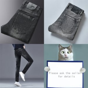 TJH7B Jeans Erkekler Tasarımcı Vintage Rahat Yırtık Hemiks Delik Kot Moda Lüks Kırık Adam Denim Sping