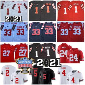 NCAA Ohio State Buckeyes Football 5 Garrett Wilson Jersey 1 Justin Fields 2 Chris Olave 4 Julian Fleming 33 Master Teague III Eddie George