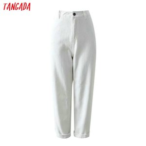Hot Sale Tangada women casual solid jeans pants pockets high waist straight trousers stylish black white and amy green trousers