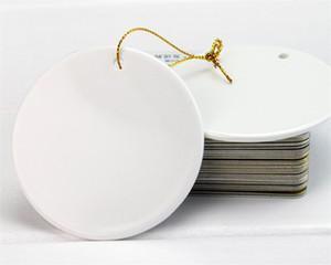 Горячая Главная Blank Сублимация керамический кулон рождественские украшения печатания передачи тепла DIY керамический орнамент сердце круглый рождественского декора
