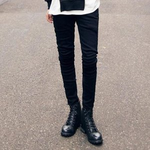 Large size Korean version of stretch black jeans tight-fitting cotton pencil pants feet pants winter boots low rise punk