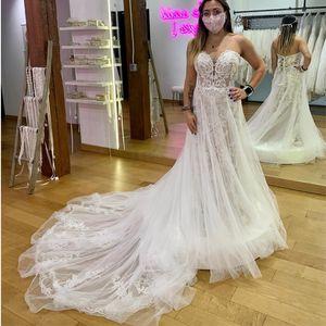 2021 wedding dress sweetheart floor length with long train tulle lace appliqued rustic women vintage boho bride gowns marrage chapel train