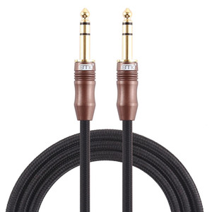 EMK 635mm Male to Male 4 Section Gold-plated Plug Cotton Braided Audio Cable for Guitar Amplifier Mixer Length 2m