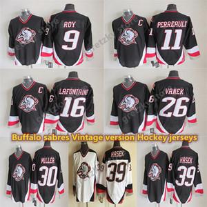 Мужские Buffalo Sabers Винтажные майки 11 Перреальтые 16 Lafontaine 26 Vanek 39 HASEK 9 ROY 30 Miller CCM Hockey Jersey