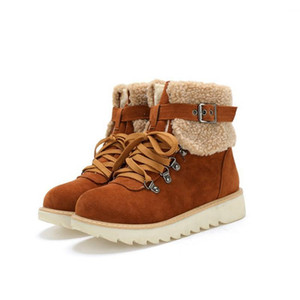 LEOSOXS Women Boots Fur Warm Winter Snow Boots Female Shoes Ladies Fashion Casual Shoes Plus Size 43 Platform Flat Ankle