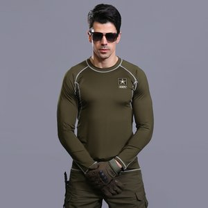Outdoor fast drying men's long tactical shirt high elastic underwear breathing muscles long sleeves