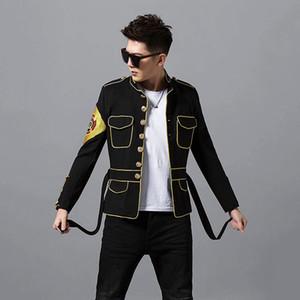 luxury mens fashion embroidery badge belted jacket european flower jacket