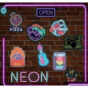 50 Pcs Neon Sign Stickers Doodle Novelty Sticker Toy For Kids Diy Home Laptop Luggage Scrapbook Bottle Skateboard Motor sqcuBg toys2010