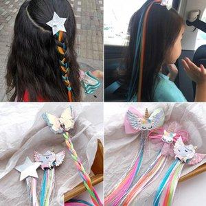 Le nuove ragazze sveglie del fumetto Unicorn Clip variopinte parrucche forcine principessa dolce dei capelli della fascia Barrettes Kids Fashion Accessori per capelli