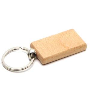 Blank Holz-Schlüsselanhänger rechteckig Schlüsselring keychain Kann Logo graviert werden 2,25 '' * 1.25 '' 25pcs / lot KW01C Schiff frei