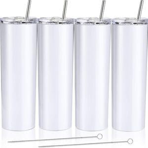 Beyaz Blank Sublime Skinny Tumbler 20/30 oz Çift Duvar Vakum Kahve Mug Sublime Tumbler 30oz Toptan 20 oz