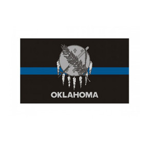 Oklahoma State Flag Thin Blue Line Flag 3x5 FT Police Banner 90x150cm Festival Gift 100D Polyester Indoor Outdoor Printed Flag