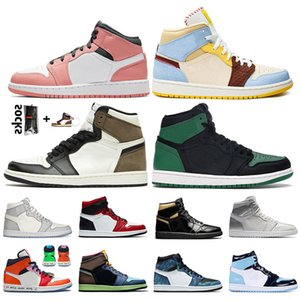 Fashion Jumpman 1 Mid Fearles Pink Quartz Womens Basketball Shoes 1s Pine Green Dark Mocha High OG Bio Hack mens trainers sports sneakers
