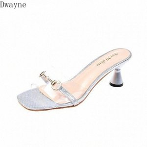 Sandals And Slippers Women 2020 Summer New Transparent Crystal Shoes Glitter Pink Word Buckle With Open Toe Temperament Fashion 5Ezf#
