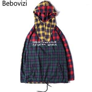 BEBOVIZI Brand Moda Autunno Autunno Hip Hop Streetwear Maschile Patchwork Felpe con cappuccio Plaid Felpe Singolo Pullover con cappuccio Vestiti Girls1